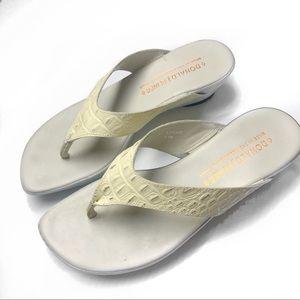 Donald J. Pilner Cisar white leather wedge  sandal